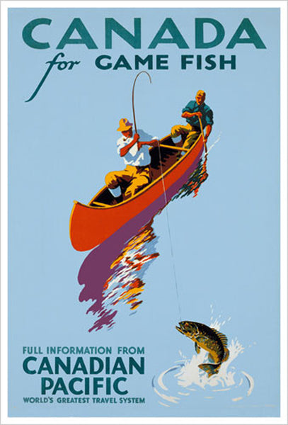 Canada For Game Fish c.1939 Vintage Fishing Canadian Pacific Travel Poster Reproduction - Canadian Pacific