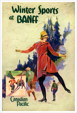 "Figure Skating ""Winter Sports at Banff"" (c.1930) Canadian Pacific Travel Poster Reprint - Eurographics"