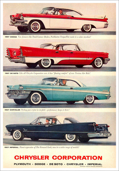 Chrysler 1957 Cars Advertising Poster Reproduction (Dodge, De Soto, Chrysler, Imperial) - Eurographics Inc.
