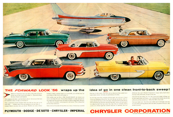 Chrysler 1956 Cars Advertising Poster Reproduction (Plymouth, Dodge, De Soto, Chrysler, Imperial) - Eurographics Inc.