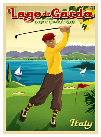 "Golfing at Lago di Garda, Italy ""Golf Challenge"" Vintage-Style Premium Poster - Eurographics"