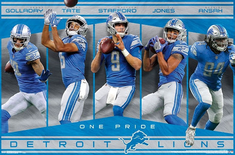 "Detroit Lions ""One Pride"" NFL Football 5-Player Action Poster (Stafford, Tate, Ansah, Golladay, Jones)"