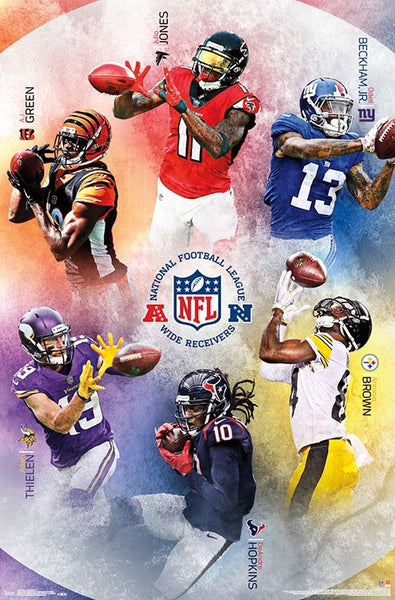 NFL Wide Receivers 2018 Poster (Jones, Green, Beckham, Brown, Thielen, Hopkins) - Trends International