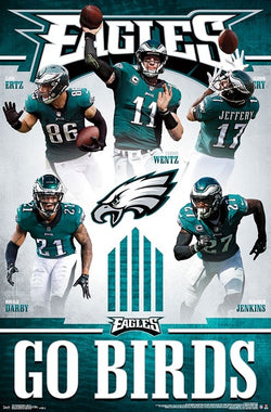 "Philadelphia Eagles ""Go Birds"" 5-Player NFL Action Poster (Wentz, Ertz, Jeffery, Darby, Jenkins) - Trends International"