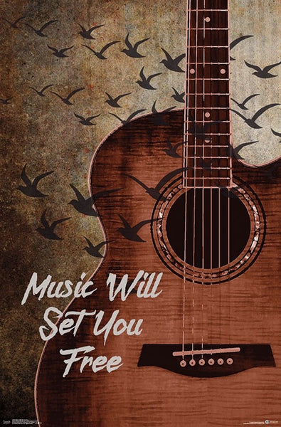 Music Will Set You Free Inspirational Guitar Poster - Trends International Inc.