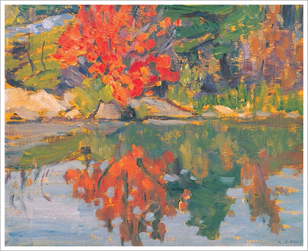 Red Trees Reflected in Lake Canadian Wilderness Art (1913) by A.Y. Jackson Group of Seven Poster Print - Eurographics Inc.
