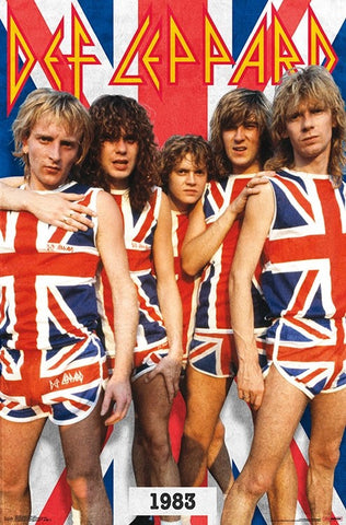"Def Leppard ""Union Jack"" (1983) Classic Rock Heavy Metal Music Poster - Trends International Inc."