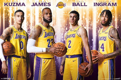 "Los Angeles Lakers ""Four Stars"" (LeBron, Kuzma, Ball, Ingram) Official NBA Poster - Trends 2018"