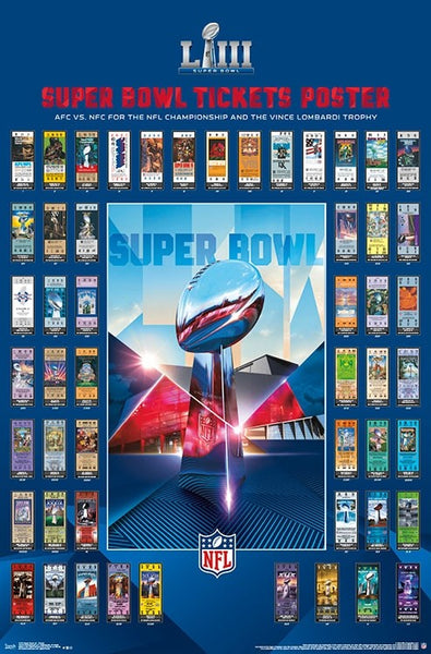 Super Bowl LIII (Atlanta 2019) Official SUPER TICKETS Game History Poster - Trends International