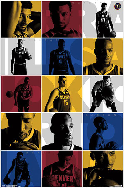 "Denver Nuggets ""Super Five"" Poster (Murray, Milsap, Jokic, Barton, Harris) - Trends International"