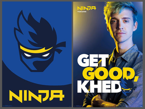 NINJA (Tyler Blevins of FORTNITE Fame) Two-Poster Combo Set - Trends International