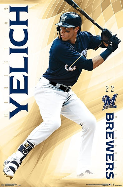 "Christian Yelich ""Golden Star"" Milwaukee Brewers MLB Action Poster - Trends International"