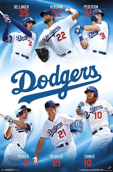 Los Angeles Dodgers Superstars 2019 POSTER (Buehler, Turner, Kershaw, Seager, Bellinger, Pederson)