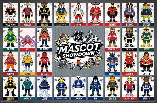 "NHL Hockey Mascots ""Mascot Showdown"" (30 Team Characters) Horizontal Wall Poster - Trends International"