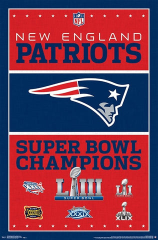 New England Patriots Six-Time NFL Super Bowl Champions Commemorative Poster - Trends