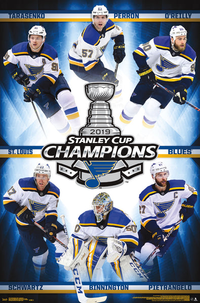 *SHIPS 6/20* St. Louis Blues 2019 STANLEY CUP CHAMPIONS 6-Player Commemorative Poster - Trends Int'l.
