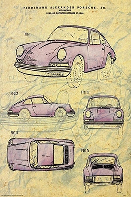 Porsche 911 (1964) Automobile Prototype Patent Art Car Poster - ISI Posters