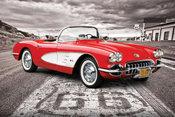 Chevrolet Corvette 1959 Model on Route 66 Sportscar Autophile Car Poster - Eurographics Inc.
