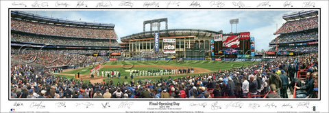 New York Mets Shea Stadium Final Opening Day Panoramic Poster Print (w/27 Sigs) - Everlasting
