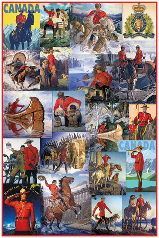 "Royal Canadian Mounted Police ""The Mounties"" Classic Art Collage 24x36 Poster - Eurographics Inc."
