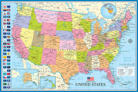 Map of The United States of America USA 24x36 Wall Poster - Eurographics Inc.