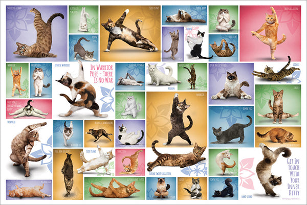 "Yoga Cats ""39 Poses"" Fitness Felines Poster - Eurographics Inc."