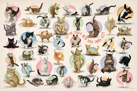"Yoga Cats ""Get In Touch With Your Inner Kitty"" Poster - Eurographics Inc."
