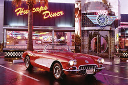 Chevrolet Corvette 1958 Model Car at Classic California Diner Poster - Eurographics Inc.