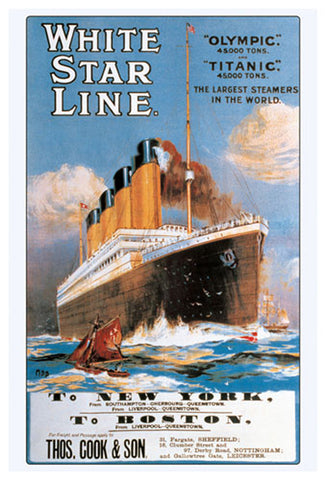 White Star Line The RMS TITANIC 1912 Travel Advertising ...