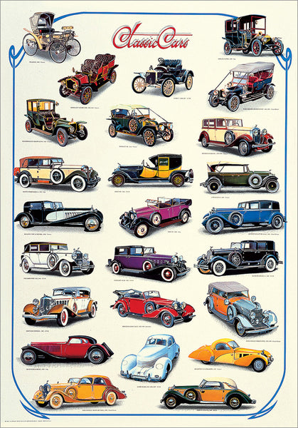 Classic Cars of the Early Era 1892-1939 (25 Vintage Automobiles) Automotive History Poster - Nuova Arti Grafiche