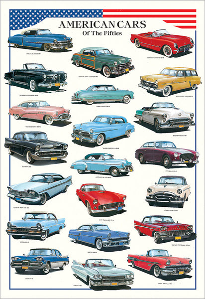 American Cars of the Fifties 1950-59 (21 Classic Automobiles) Automotive History Poster - Nuova Arti Grafiche