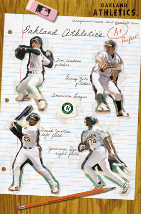 "Oakland A's ""A-Plus"" Poster (Hudson, Zito, Justice, Dye) - Costacos Sports 2002"