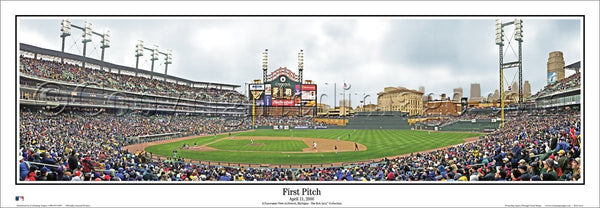 Detroit Tigers Comerica Park First Pitch Panoramic Poster Print (2000) - Everlasting Images