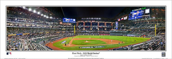 Los Angeles Dodgers 2020 World Series First Pitch Globe Life Park Panoramic Poster Print - Everlasting Images