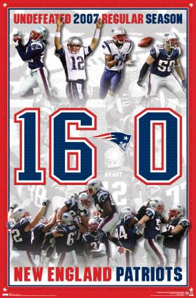 New England Patriots 2007 Undefeated Season 16-0 Commemorative Poster - Costacos 2008