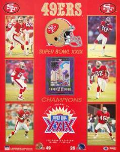 "San Francisco 49ers Super Bowl XXIX Champs (16""x20"") Poster - Starline 1995"