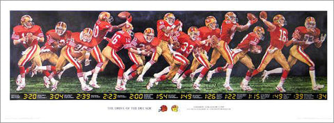 "Joe Montana ""The Drive of the Decade"" (Super Bowl XXIII) Commemorative Poster (1989)"