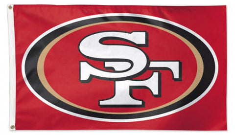 San Francisco 49ers Official NFL Football 3'x5' DELUXE Team Banner Flag (RED Background) - Wincraft