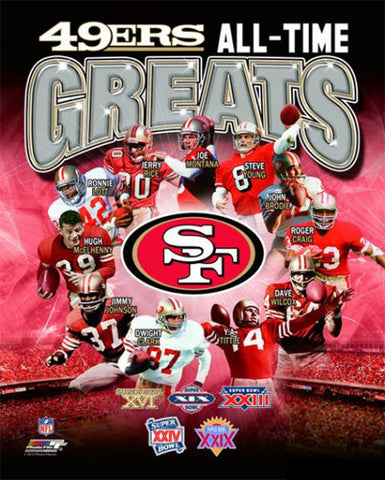 "San Francisco 49ers ""All-Time Greats"" (11 Legends, 5 Super Bowls) Premium Poster Print - Photofile"