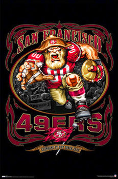 "San Francisco 49ers ""Grinding it Out"" Theme Art Poster - Costacos/Liquid Blue"