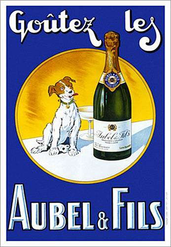 "French Sparkling Wine ""Aubel and Fils"" Vintage 1920s Champagne Advertisement Poster Reprint - Clouets (France)"