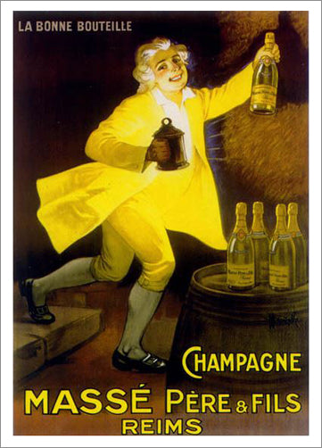 "French Sparkling Wine ""Champagne Masse Pere and Fils"" Vintage 1920s Advertisement Poster Reprint - Clouets (France)"