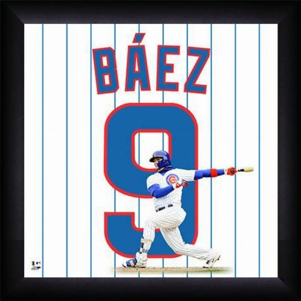 "Javier Baez ""Number 9"" Chicago Cubs FRAMED 20x20 UNIFRAME PRINT - Photofile"