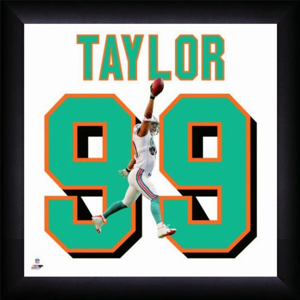"Jason Taylor ""Number 99"" Miami Dolphins NFL FRAMED 20x20 UNIFRAME PRINT - Photofile"