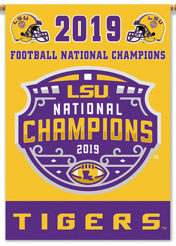 "LSU Tigers 2019 NCAA Football National Champions Official 2-Sided 28""x40"" Banner - BSI"