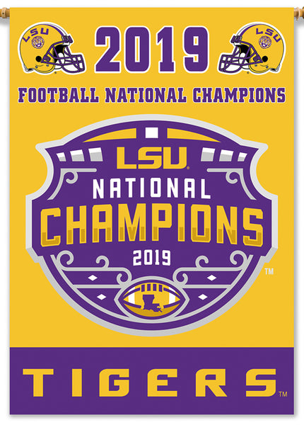 "*SHIPS 1/30* LSU Tigers 2019 NCAA Football National Champions Official 2-Sided 28""x40"" Banner - BSI"