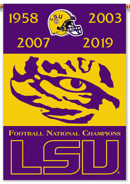 LSU Tigers Football 4-Time NCAA National Champions Premium Banner Flag - BSI