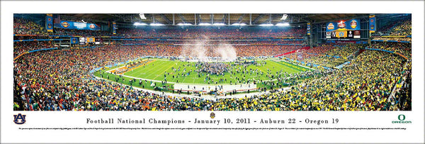 Auburn Tigers 2010 NCAA Football National Champions Panoramic Poster Print - Blakeway 2011