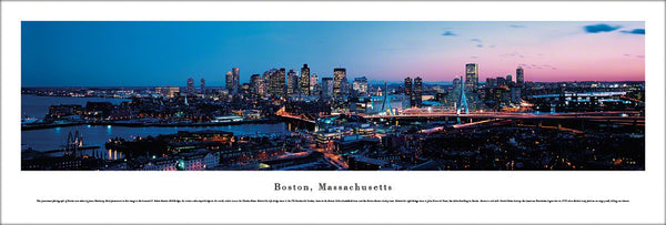 Boston, Massachusetts Downtown Sunrise Panoramic Poster Print - Blakeway Worldwide