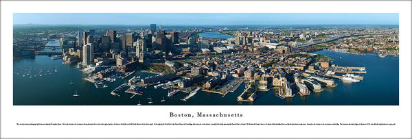 Boston, Massachusetts Aerial View Panoramic Poster Print - Blakeway Worldwide